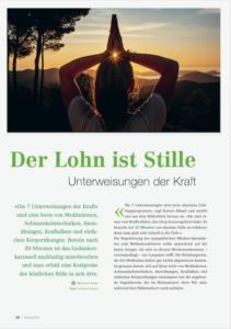 Karin Reber Yogamagazin Der Lohn ist Stille - Die 7 Unterweisungen der Kraft